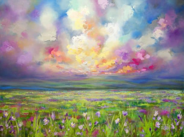 Fine Art Landscape Painting of Sunset Sky Wildflower Field Artist Melissa McKinnon 'From Here I Can Go Anywhere'